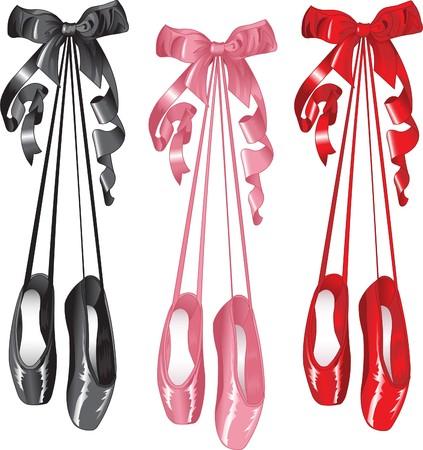 ballet cl�sico: Un conjunto de ballet manida pointes zapatos. Aislados en blanco.