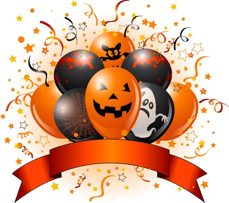 halloween party: Halloween design with balloons, confetti & copy space ribbon