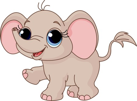 baby elephant: Illustration of Cute and funny baby elephant