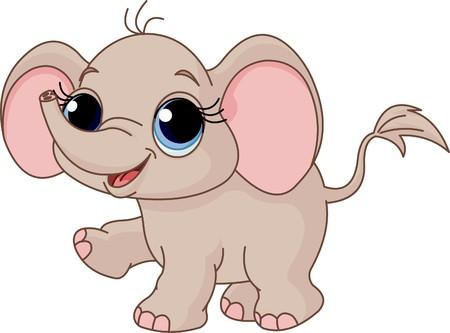 Ilustración de Cute y divertida bebé elefante  Foto de archivo - 7911695