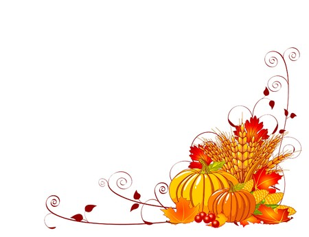 Seasonal background with plump pumpkins, wheat, corn and autumn leaves Illustration