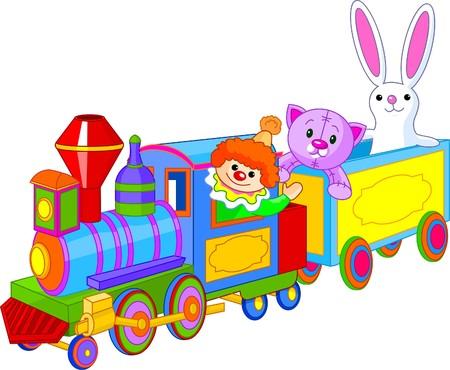 おもちゃの列車。ピエロ、猫、ウサギ、電車の中で座っています。