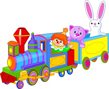Toy train. Clown, kat en bunny zitten in de trein