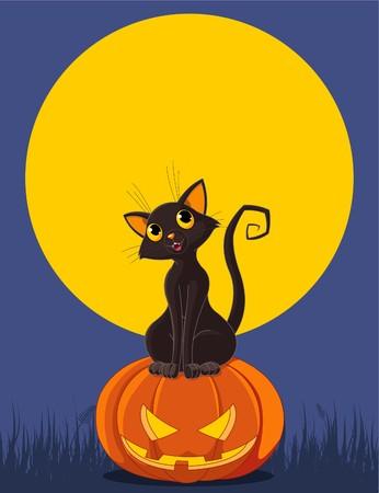 Black  cat sitting on Halloween pumpkin. Greeting cardinvitation Vector
