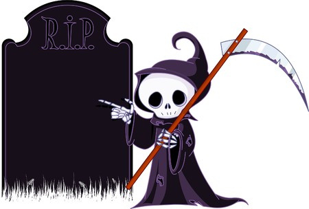Cute cartoon grim reaper with scythe  pointing to tombstone. Isolated on white Vector