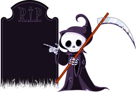 scythe: Reaper de tan bonita caricatura con guada�a apuntando a la l�pida. Aislados en blanco  Vectores
