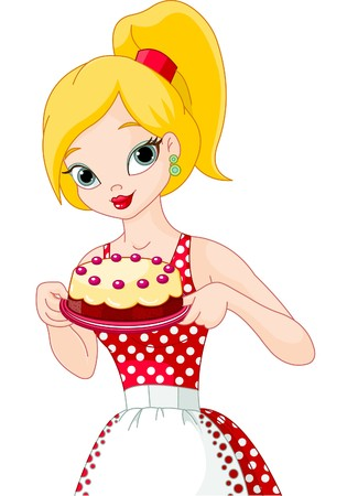 Beautiful young woman holding a delicious  cake Vector