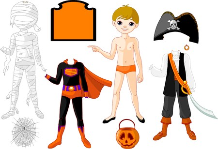 paper doll: Pointing Paper Boy with three costumes for Halloween Party;