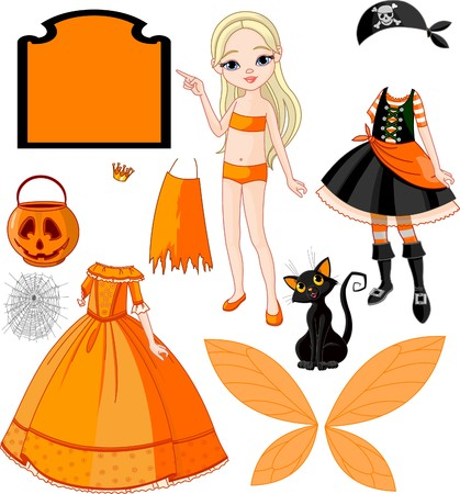 closet: Pointing Paper Doll with three dresses for Halloween Party