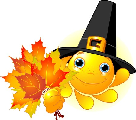 Cartoon Character of Cute  Sun with pilgrim hat holding autumn leaves Vector