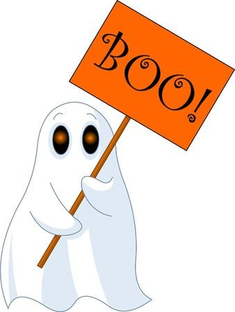 Illustrazione di molto carino fantasma con segno di ?Boo?
