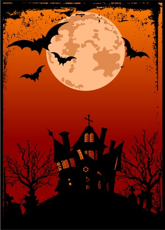haunted house: Grunge Halloween background with haunted house, bats and full moon