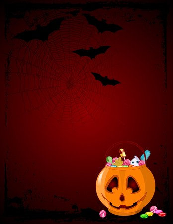 A vector  background of Jack O' Lantern bag full of Halloween treats. Stock Vector - 8008622