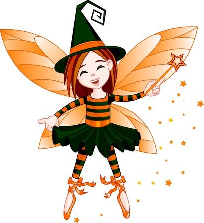 bruja: Ilustración de lindo de Halloween de hada, volando en el aire