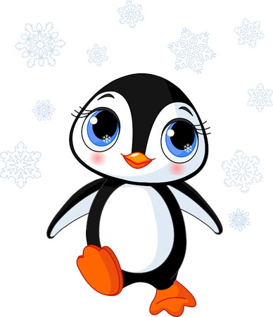 Illustration of cute winter penguin in Antarctica