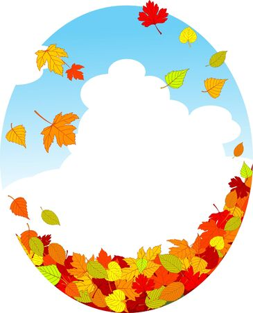 Autumn background with falling leaves Vector