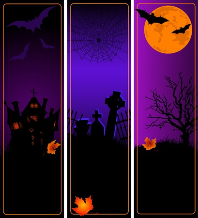 brown background: A collection of vertical Halloween banners Illustration
