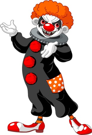 Illustration of Scary Halloween clown presenting (showing) Vector