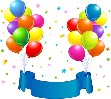 Birthday design with balloons, confetti & copy space ribbon.  Vector