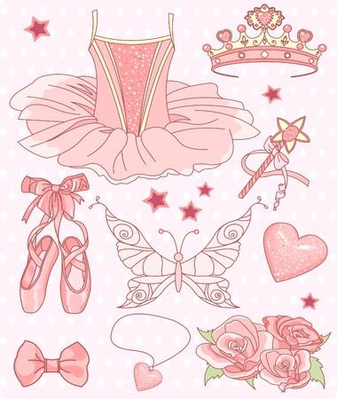 diadema: Conjunto de una princesa de accesorios de bailarina.  Vectores