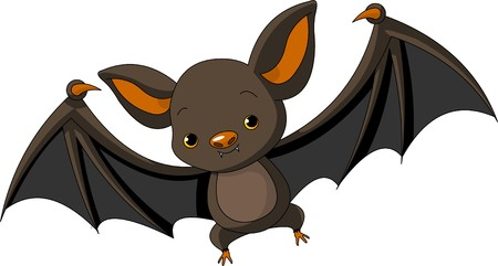 Illustration of Cute Cartoon Halloween bat  flying Çizim
