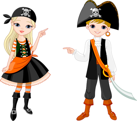 stage costume: Two pointing  kids dressed as pirates for Halloween party  Illustration