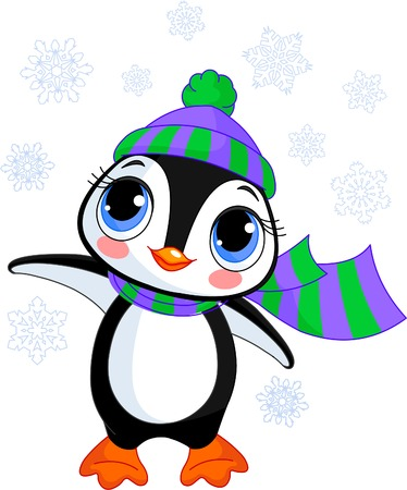 Illustration of cute winter penguin with hat and scarf  pointing Ilustracja