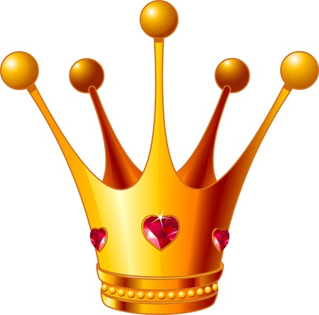 crowns: Beautiful illustration of a gold Princess crown