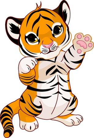 Illustration of  cute playful tiger cub  waving hello