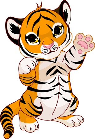tigres: Illustration du tigre ludique cute cub agitant hello