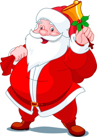 Santa Claus with sack of gifts,  ringing  in a bell Stock Vector - 8077401