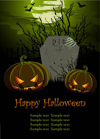 Halloween Illustration with Tombstone and Pumpkins for banners or invite  Ilustração