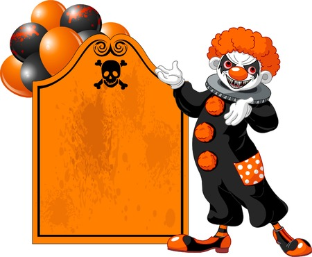 Illustration of Scary Halloween Clown (showing) Vector