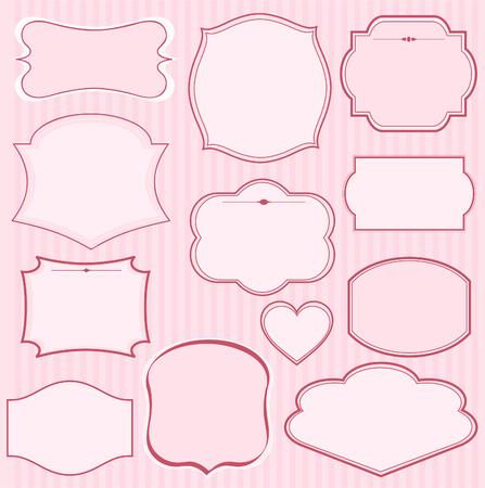 핑크 프레임 및 텍스트 장식 집합입니다. 초대 또는 발표로 완벽하게