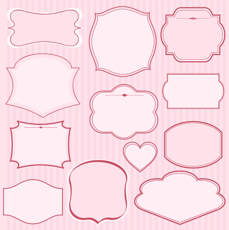 Set of pink frames and ornaments with  text. Perfect as invitation or announcement  Иллюстрация