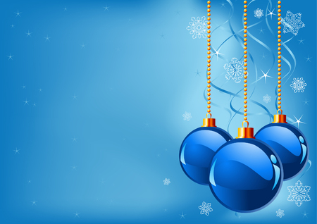 xmas background: Abstract blue Christmas Background with Christmas decorations