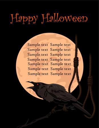Halloween Crow sitting and croaks against a full moon and rope halter Illusztráció