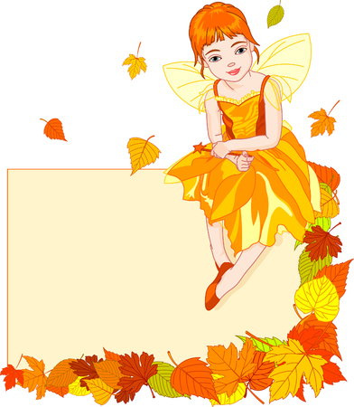 Thanksgiving (autumn) fairy sitting on place card. All objects are separate groups Vector