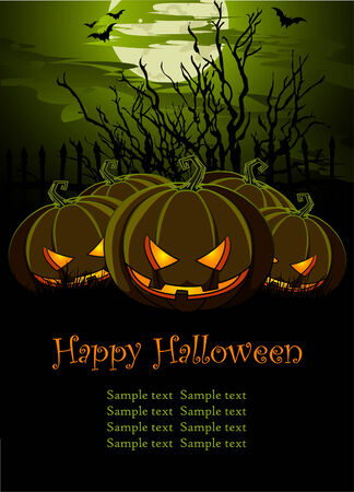 Halloween Illustration with Pumpkins for banners or invite  Vector