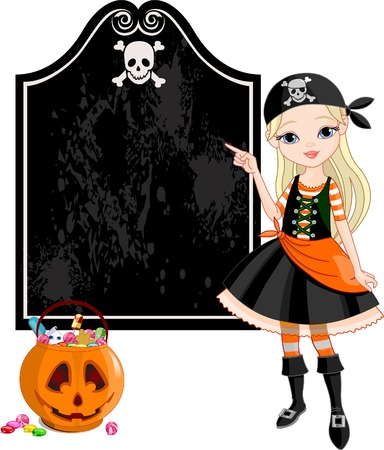 girl: Pointing  girl dressed as pirates for Halloween party  Illustration