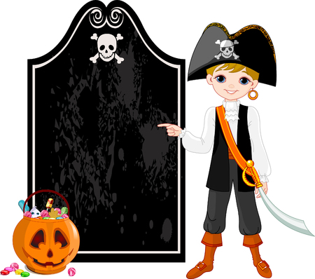 looking at camera: Pointing  kid dressed as pirates for Halloween party  Illustration