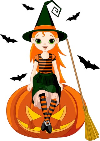 Illustration for Halloween with a cute witch  sitting on on pumpkin