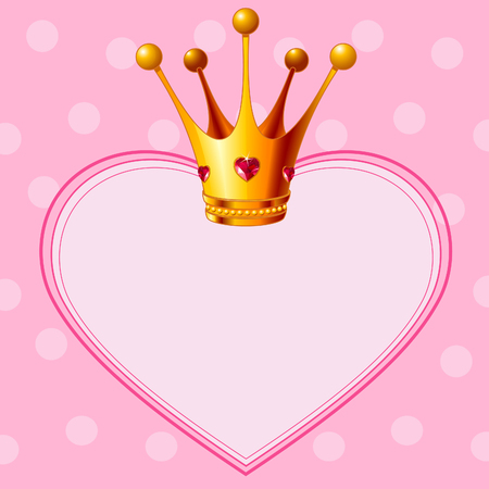 Beautiful shining true princess crown on pink  background Vector