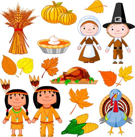 Geïllustreerde set van thanksgiving pictogrammen