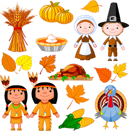 Illustrierte Set Thanksgiving-icons Standard-Bild - 8077415