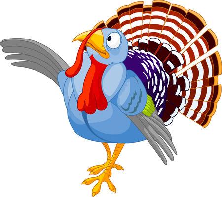 strut: Illustration of Thanksgiving Cartoon turkey presenting