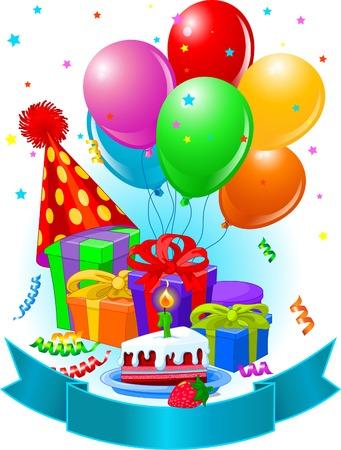 Verjaardags giften en decoratie klaar voor de verjaardags partij  Stock Illustratie