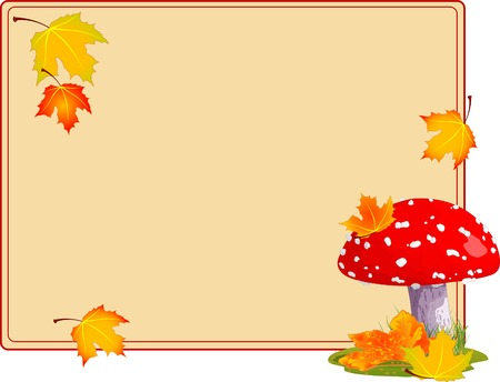 Fly agaric in a grass. Autumn background Illustration