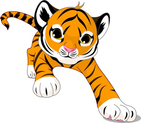 Image of running cute baby tiger Vector