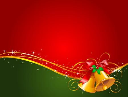 muerdago: Fondo de Navidad con campanas de Navidad